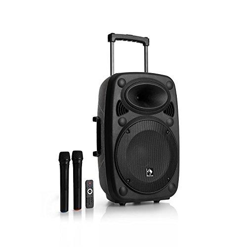 auna Streetstar 12 Equipo de PA móvil • Tamaño de 12' y 1000W de potencia máxima • Bluetooth • Puerto USB y SD para MP3 • Incluye 2 micrófonos inalambricos • Fácil de transportar gracias a su batería • Para públicos de hasta 100 personas