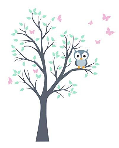 madras24 Wandtattoo Kinder Babyzimmer Aufkleber Eule Eulen Wandsticker Wand Waldtiere Kinderzimmer Wandaufkleber Deko Dekoration fürs Baby Kindergarten Baum Tiere XL