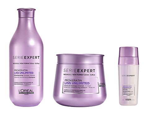 L 'Oreal Serie Expert Liss Unlimited Pro Keratin Shampoo 300ml, Masque 250ml und SOS Glätten Double Serum 30ml