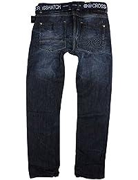 Herren Crosshatch Techno Jeans Geprägt Dunkel Gewaschener Denim Hosen Mit Gratis Gürtel