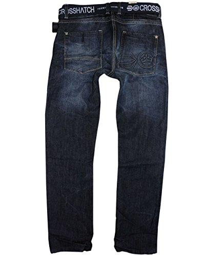 Herren Crosshatch Techno Jeans Geprägt Dunkel Gewaschener Denim Hosen Mit Gratis Gürtel Schwarz