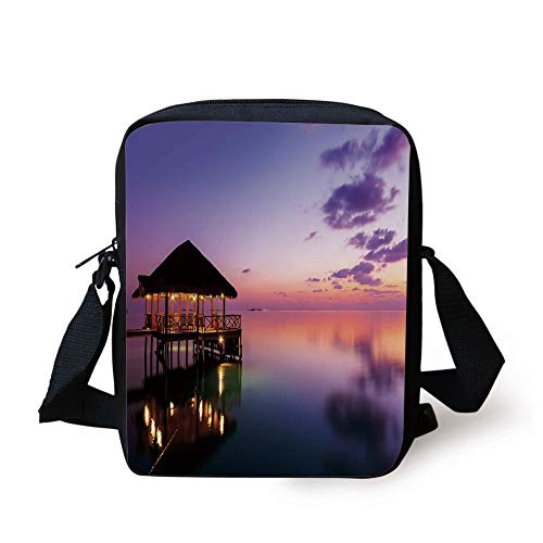 Tropical,Arbor with Lights on Sea at Dramatic Night Paradise Maldives Sky Exquisite Coast View,Purple Print Kids Crossbody Messenger Bag Purse