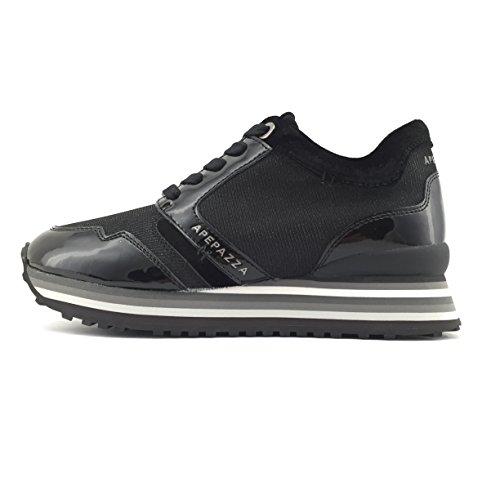 Apepazza RSD01 METAL scarpa donna stringata in vernice/tessuto nero (38)
