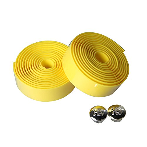 Everpert 2PCS Radfahren Rennrad Sport Cork Lenkerband + 2 Bar Stecker gelb