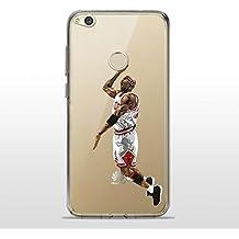 P8Lite2017 TPU Funda Gel Transparente Carcasa Case Bumper de Impactos y Anti-Arañazos Espalda Cover, NBA Basketball, Jordan Colección Collection, Huawei P8 Lite 2017