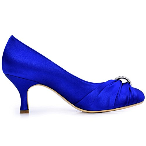 ElegantPark HC1526 Donna Punta Chiusa Tacco Medio Strass Volant Raso Sposa Ballo Sera Partito Pompe Blu