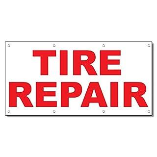 Tire Repair rot Auto Repair Shop 13Oz Vinyl Banner Schild mit Tüllen 4 Ft x 8 Ft