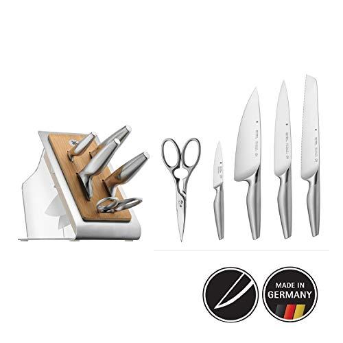 WMF Chef\'s Edition Messerblock mit Messerset, 6-teilig, Spezialklingenstahl, 4 Messer geschmiedet, Schere, Block-Bambus, Kunststoff, Edelstahl, Performance Cut