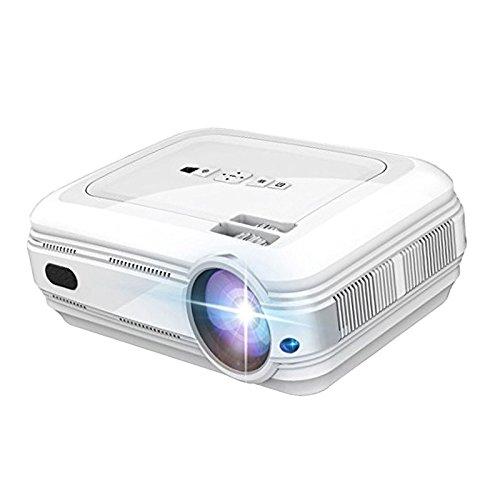 MagiDeal Mini Tragbarer LCD Beamer LED Projektor Heimkino Multimedia Video mit 3200 Lumen Unterstützt Videospiele 1080P HD Video HDMI VGA AV USB SD für PC Laptop TV Box und Xbox - Weiß
