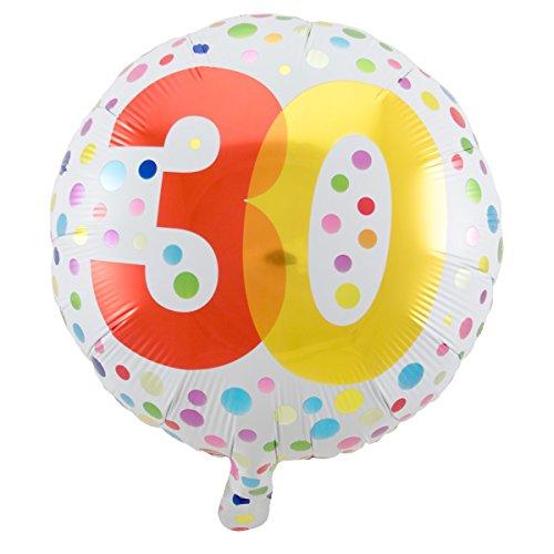 Folienballon Geburtstag Zahl 30 Rainbow dots Circa 45cm Circa Dot
