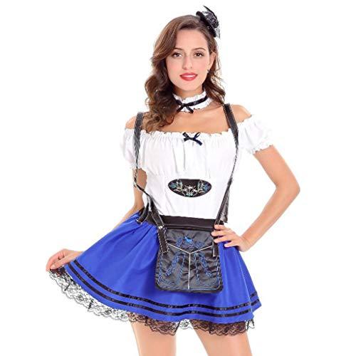 (VEMOW Cute Design Elegante Damen Frauen Oktoberfest Kostüm Bayerisches Bier Mädchen Dirndl Taverne Maid Tops + Rock Set(X1-Blau, EU-36/CN-M))