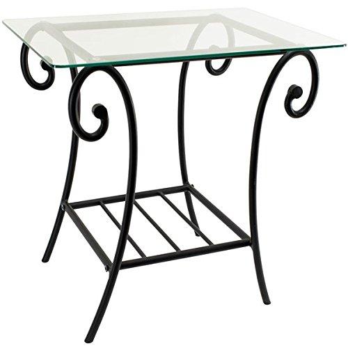 Autre - Table de chevet Metal et Plateau Verre Table de nuit lit Design Noir fer forgé