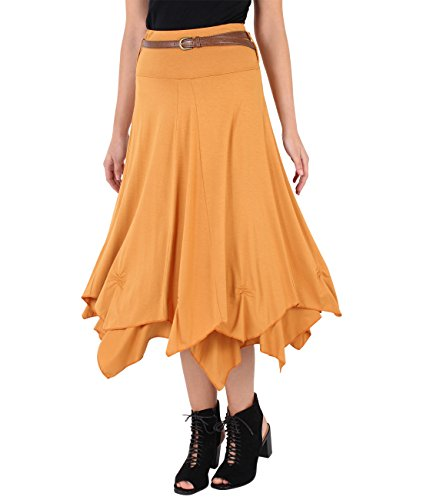KRISP Women Jersey Bohemian Gypsy Skirt Retro Hippie Belted