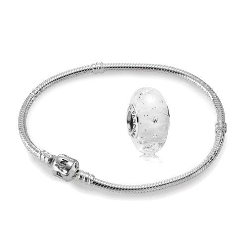 Original-PANDORA-Starterset-Geschenkset-925er-Sterling-Silber-1-Silber-Armband-Gre-23-cm-ArtNr-590702HV-23-und-1-Murano-Charm-Glitzer-Glas-wei-ArtNr-791617CZ