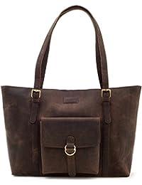 LEABAGS Verona sac cabas rétro-vintage en véritable cuir de buffle