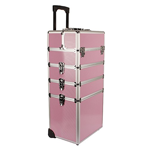 Yorbay Kosmetikkoffer Beautycase ALU Trolley Friseurkoffer Schminkkoffer Schmuckkoffer (XXL, Pink)