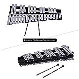 Man9Han1Qxi 30 Hinweis Faltbares Glockenspiel Xylophon Percussion Musikinstrument Spielzeug Neuheit Lustiges Spielzeug Black+Sliver
