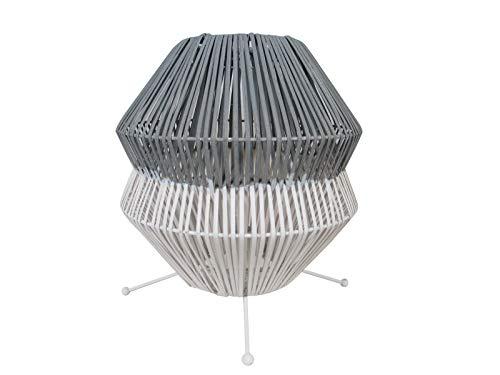 Luminaire Amorok, lampe décorative rotin, 40 W, gris/blanc, ø 32,5 x H 36 cm