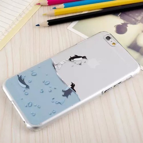 iPhone 5 5S SE Coque , YIGA Pinguin Noir Blanc Bleu Transparent 3D Crystal TPU Silicone Doux TPU Case Cover Housse Etui pour Apple iPhone 5 5S / iPhone SE Penguin