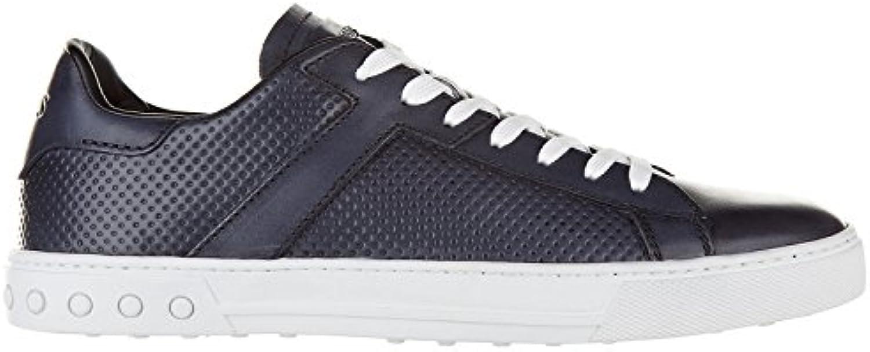 Tod's Herrenschuhe Herren Leder Schuhe Sneakers Etichetta cassetta Blu