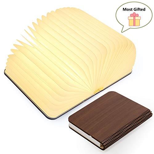 Lampes de lecture miniatures, lampe de lecture à DEL pliante en bois pliable pour meubles / bureau / table / mur - piles au lithium 2500mAh
