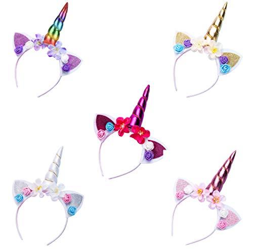 rnband mit Unicorn Horn Haarschmuck Kopfschmuck headband mit Ohren für Ostern Geburtstag Birthday Party 5er Pack ()