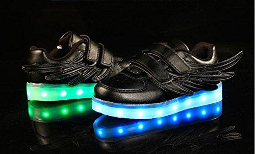 Firstmall- Chaussures 7 Couleur Unisexe garçons et filles enfants USB Charge LED Lumière Lumineux Clignotants Chaussures de Sports Baskets Noir