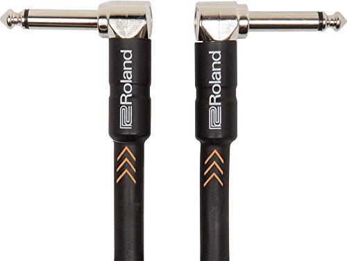Roland Black-Serie Patch/Pedal-Kabel - Patch/Pedal-Kabel - gewinkelte 6,3-mm-Klinkenstecker, Länge: 15 cm - RIC-BPC -