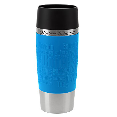 Thermobecher Travel Mug Wasserblau 360 ml mit persönlicher Rund-Gravur gelasert Edelstahl Soft-Touch-Manschette Quick Express Verschluss
