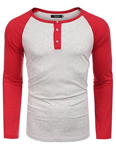 Hasuit Herren T Shirt Raglan Kontrast Langarm Shirt Slim Fit für Freizeit  Rot ef58fd4235