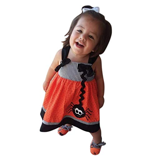 Yanhoo Kleinkind Kinder Baby Mädchen Halloween Spider Strap Party Prinzessin Kleid Outfits B2071 (0 2Y) Langarm Kürbis(Orange,90)