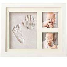 ¡FASCINANTE KIT DE MARCO DE HUELLAS DE MANO Y PIE DE BEBÉ para niño y niña, regalos originales y únicos para la fiesta de bienvenida del bebé, decoraciones de pared o mesa con recuerdos memorables, marcos de arcilla y madera!