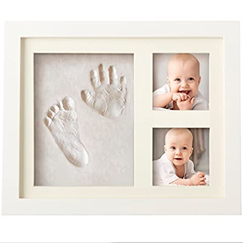 CHARMING BABY HANDPRINT FOOTPRINT PICTURE FRAME KIT for Boys and Girls, Cool & Unique Baby Shower Gifts for Registry, Memorable Keepsakes Decorations for Room Wall or Table Decor, Premium Clay & Wood Frames