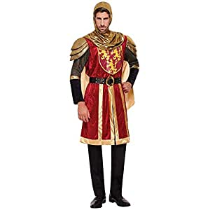Adult Mens Red Knight Crusader Royal Armour Fancy Dress Lannister Lion Costume Medieval Arthur Dragon King Game Lord Outfit