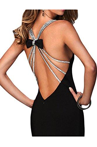 ivyd ressing Femme col V sexuellement fente mousseline de soie robe longue Prom Party robe robe du soir Noir - Noir