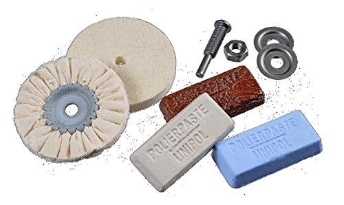 Osborn Polierset für Bohrmaschine, 6-teilig Metall 85/80, 3 Polierpasten weiß/braun/blau, Schaft 6 mm, 1203600000
