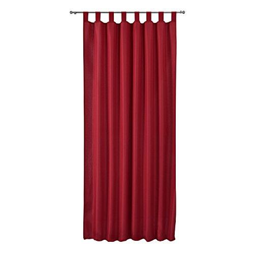 Beautissu Fenster Vorhang Schlaufen-Vorhang Amelie - 140x245 cm Rot - Dekorative Gardine Schlaufenschal Fenster-Schal