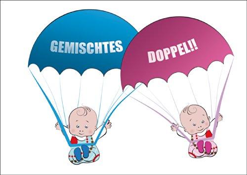 Süße Zwillings Babykarte/ Glückwunschkarte zur Geburt von Zwillings Mädchen und Junge mit rosa und blauen Babys an Fallschirmen: Gemischtes Doppel!! • schöne Willkommens Grußkarte, Geschenk-karte zur Geburt
