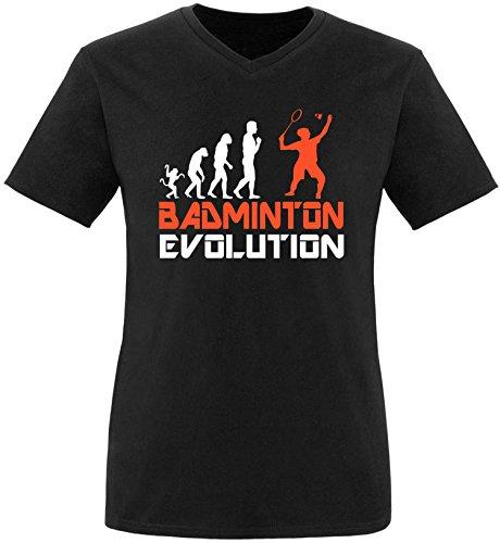 EZYshirt® Badminton Evolution Herren V-Neck T-Shirt Schwarz/Weiss/Orange