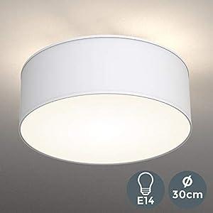 Deckenleuchte | 2-flammig | Stoffleuchte | weiß | 30cm Durchmesser | Stoff Deckenlampe | Schlafzimmerleuchte | Wohnzimmerleuchte