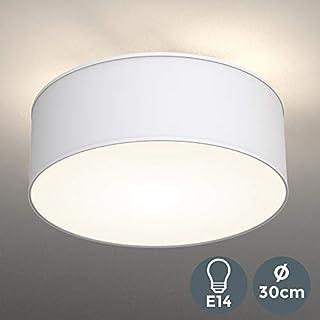 LED Fabric Ceiling Light ø 30 cm I Triple-light I Fabric Light I White I Round Bedroom Light I Kid's Room Lamp I Living Room Light Fixture I IP 20 I Easy to install