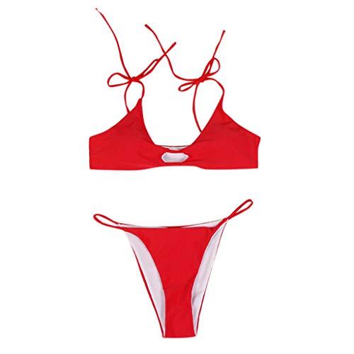 OrchidAmor 2019 Damen Bikini Set Push-Up Bandage Bademode Strandmode Badeanzug - Rot - Mittel -