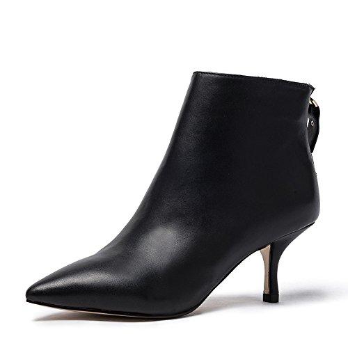 Damen Stiefeletten mit Absatz Schwarz Kurzschaft Stiefel Frauen Leder Spitz Ankle Boots Wildleder Schuhe Elegant Kitten Heels (39, Schwarz Glattleder(Leder linling)) (Mid-heel Leder-einlegesohlen)