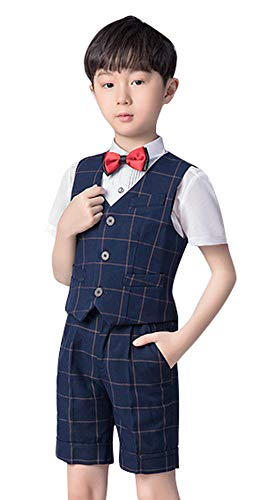 DEMU Baby Junge Anzug 4 TLG Gentleman Sommerhochzeit Weste Kurze Anzüge Set Outfits Set-1 100