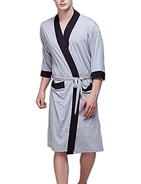Hombres Vestidos Sleepwear Ligero Kimono De Modal Túnica De Manga 3/4