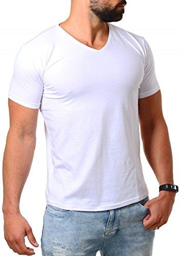Young & Rich Herren V-Ausschnitt T-Shirt einfarbig slimfit mit Stretchanteilen Uni Basic V-Neck Tee, Grösse:L;Farbe:Weiß (Unterhemden Baumwolle T-shirts Herren V-neck)