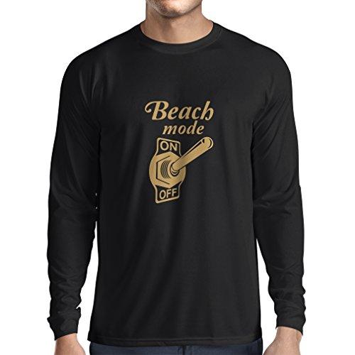 N4172L Strand-Modus auf lustiges Geschenk, Langarm T-Shirt (XXXL, Black Gold)