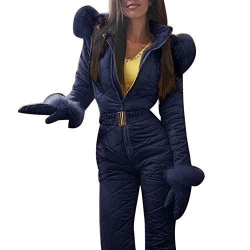 Hvoz Donna Tuta da Sci, Donna Inverno Caldo Tuta da Sci Outdoor Sports Pantaloni Tuta da Sci Impermeabile Tuta Intera Take Spento Facile - Blu, X-Large
