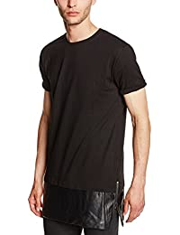 Urban Classics Long Zipped Leather Imitation Bottom Tee, T-Shirt Homme, Mehrfarbig