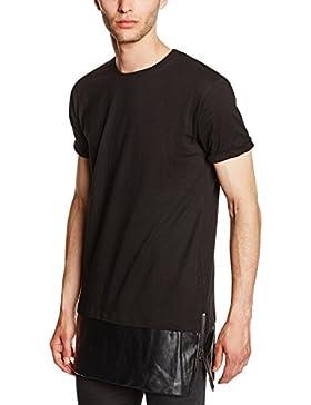 Urban Classics Long Zipped Leather Imitation Bottom Tee, Camiseta para Hombre